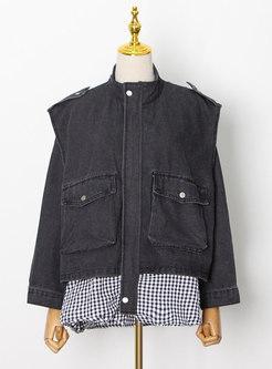 Plus Size Plaid Patchwork Flap Pockets Denim Coat