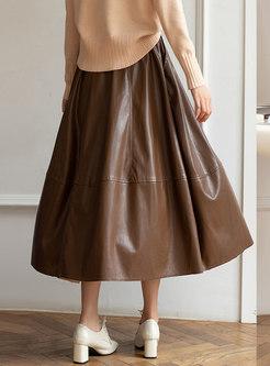 High Waisted Pleated Leather Maxi Skirt
