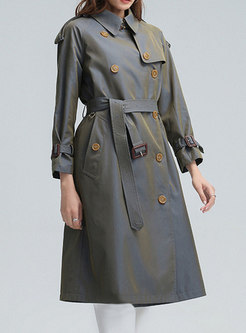 Double-breasted Straight Mid-length Trench Coat