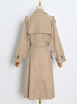Casual Double-breasted Big Pockets Long Trench Coat