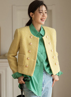 Crew Neck Double-breasted Short Wool Blend Coat