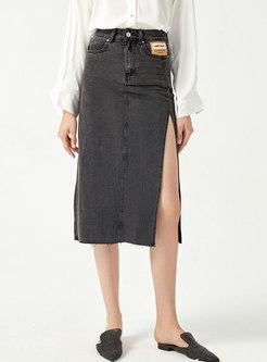 High Waisted Split Midi Denim Skirt