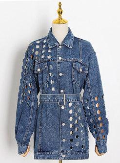Long Sleeve Belted Loose Ripped Denim Jacket