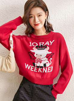 Animal Pattern Pullover Long Sleeve Cropped Sweater