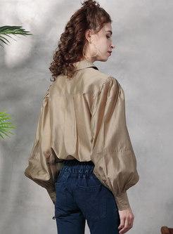 Lantern Sleeve Single-breasted Loose Blouse