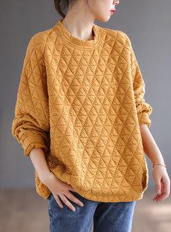 Casual Crew Neck Pullover Loose Sweatshirt
