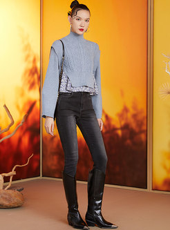 Retro Jacquard Pullover Cable-knit Short Sweater