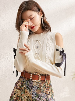 Cute Bowknot Cold Shoulder Pillow Sweater
