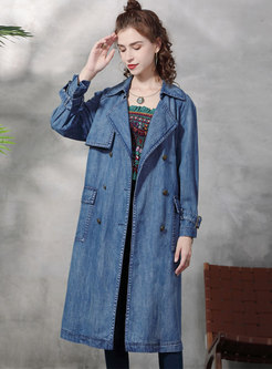 Double-breasted Flap Pocket Mid-length Midi Trench Coat