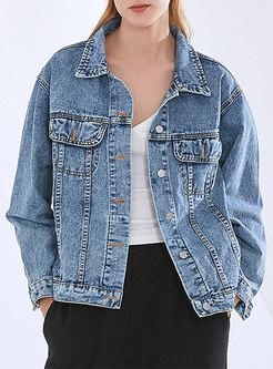 Casual Single-breasted Loose Denim Jacket