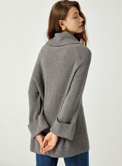 Turtleneck Pullover Loose Ribbed Sweater