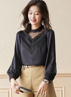 Mock Neck Long Sleeve Pullover Blouse