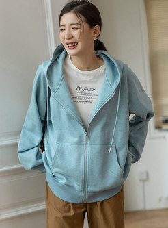 Casual Hooded Long Sleeve Front Zipper Sweatshirt