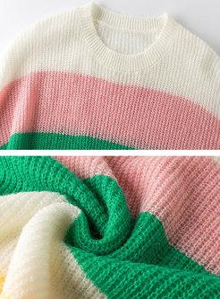 Crew Neck Rainbow Striped Pullover Sweater