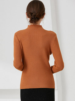 Mock Neck Long Sleeve Openwork Ribbed Sweater
