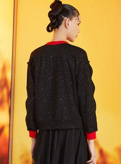 Crew Neck Cartoon Embroidered Sequin Sweatshirt