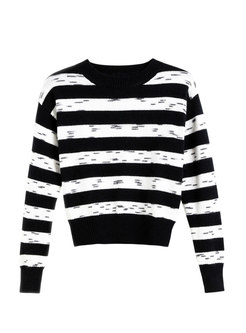 Crew Neck Long Sleeve Striped Pullover Sweater