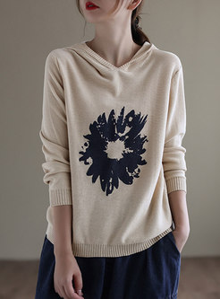 Hooded Print Pullover Long Sleeve Sweater