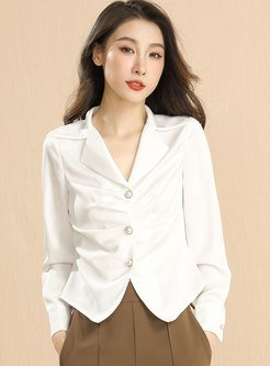 Long Sleeve Single-breasted Ruched Short Blouse