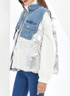Denim Flap Pockets Patchwork Drawstring Vest