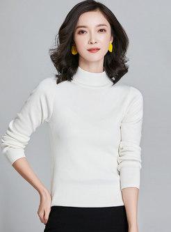 Mock Neck Pullover Ribbed Slim Sweater
