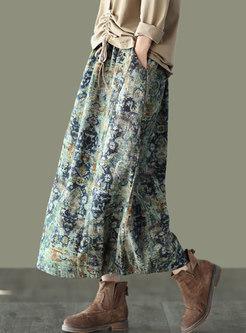 High Waisted Floral Straight Maxi Skirt
