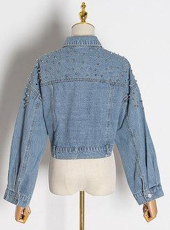 Long Sleeve Rivet Cropped Denim Jacket