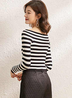 Off-the-shoulder Striped Pullover Sweater