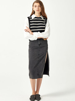 Crew Neck Striped Ribbed Pullover Sweater Vest