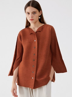 Plus Size Button-down Pleated Loose Cardigan