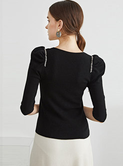 Square Neck Puff Sleeve Pullover Wool Sweater