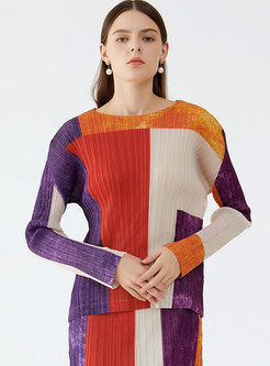 Crew Neck Long Sleeve Pleated Pullover T-shirt