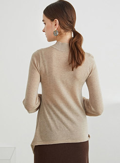 Mock Neck Pullover Asymmetric Ruched Wool Sweater