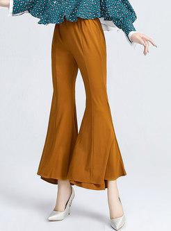Casual High Waisted Draped Flare Pants