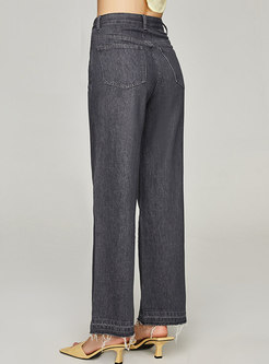 High Waisted Washed Denim Wide Leg Pants