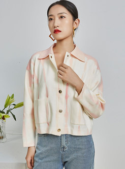 Tie-dye Embroidered Short Sweater Cardigan