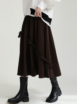High Waisted Bowknot Velvet Maxi Skirt