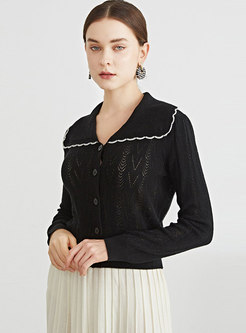 Turn-down Collar Long Sleeve Openwork Cardigan
