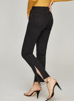 High Waisted Split Straight Jeans