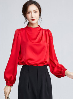 Mock Neck Pullover Ruched Chiffon Blouse