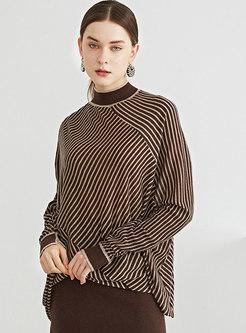 Long Sleeve Striped Asymmetric Wool Sweater