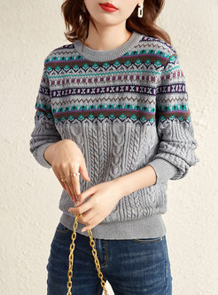Crew Neck Metallic Cable-knit Pullover Sweater