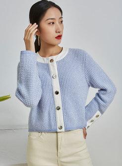 Crew Neck Single-breasted Loose Sweater Cardigan