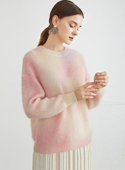 Crew Neck Long Sleeve Pullover Mohair Sweater