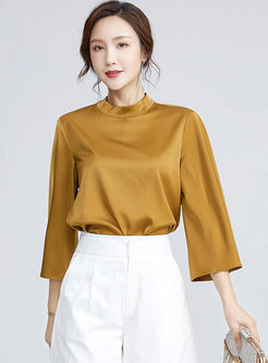 Mock Neck Flare Sleeve Pullover Loose Blouse