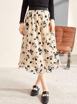 High Waisted Embroidered Mesh Midi Skirt