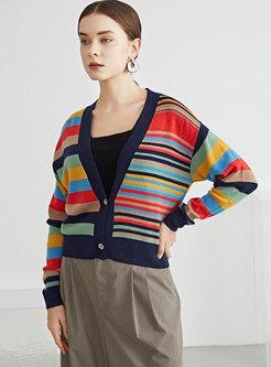 V-neck Long Sleeve Striped Wool Cardigan
