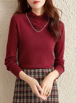 Cowl Neck Pullover Slim Sweater
