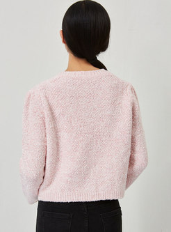 Crew Neck Pearl Single-breasted Short Cardigan