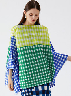 Plus Size Plaid Pullover Pleated Loose Blouse